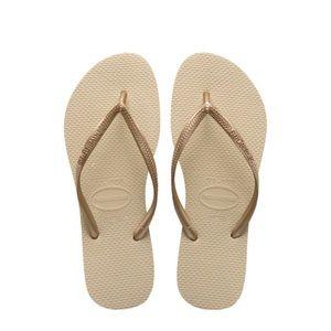 Havaianas slim flip flop sand grey light golden